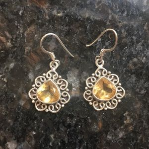 Jewelry - Sterling silver and genuine Citrine earrings